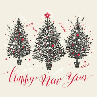 Рисованная рождественская открытка. новогодние деревья со снегом и конфетти