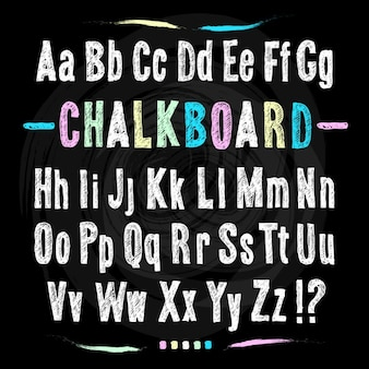 黒板フォント手は黒のテクスチャ背景にアルファベットベクトル図を描きます