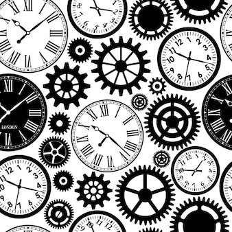 時計のシームレスなパターン黒と時間の白の質感