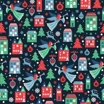 クリスマスの包装、繊維、壁紙のための雪片と天使とシームレスなパターン。