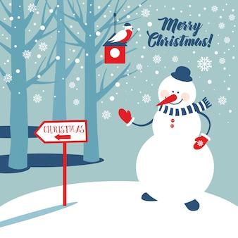 クリスマスの背景に雪だるまと雪片。新年のイラスト。