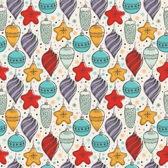 Рождественские бесшовные шаблон с рисованной символы
