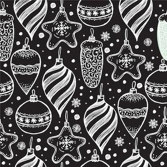 Рождественские бесшовные модели с элементами рождества на черном.