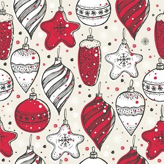 Рождественский бесшовный фон с рождественскими символами.