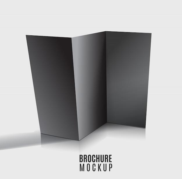 黒い空白の三つ折りパンフレットのデザインを分離。モックアップレイアウト。