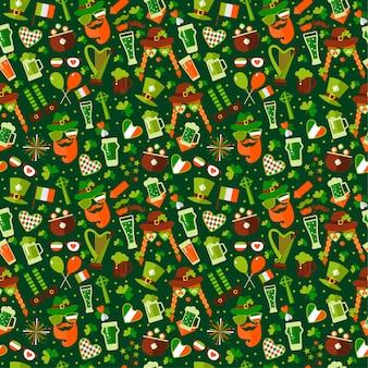 緑色の背景で聖パトリックの日のためのシームレスなパターン。