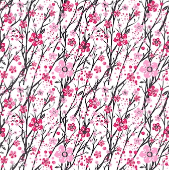 Сакура япония вишня ветка с цветущими цветами.