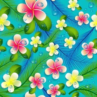美しいシームレス花柄ジャングルパターン背景。