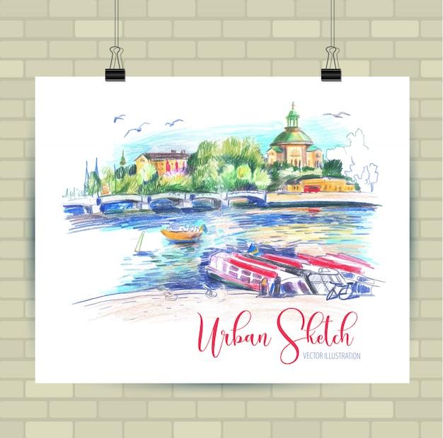 Зарисовка иллюстрации в векторе. плакат с красивым пейзажем и лодками.