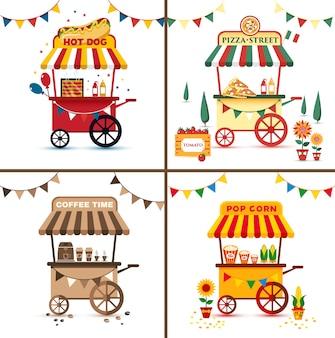 Набор уличной еды с пиццей, хот-дог, кофе, попкорн. плоская яркая иллюстрация.