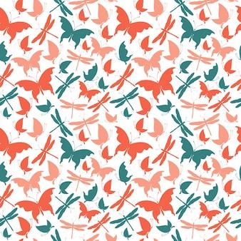 赤いハート、蝶のシームレスパターン