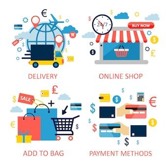 オンラインショッピング。フラットなデザインのグラフィック要素、サイン、シンボル、線のアイコンを設定します。プレミアム品質