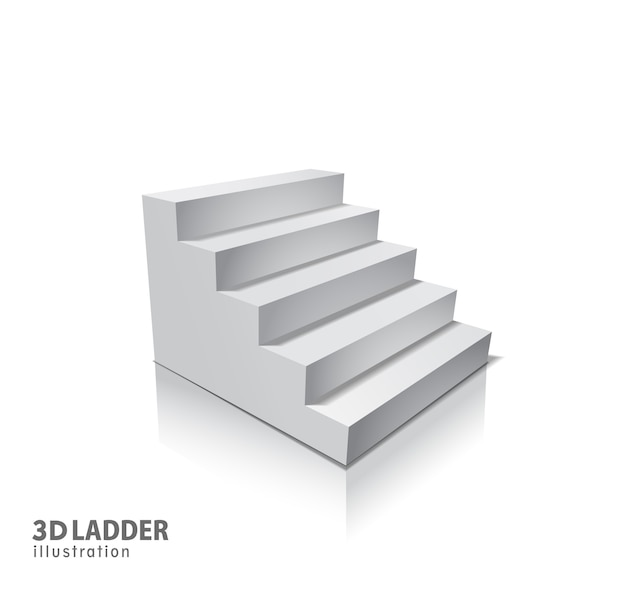 デザイン要素ホワイト階段影付きのリアルなイラスト。