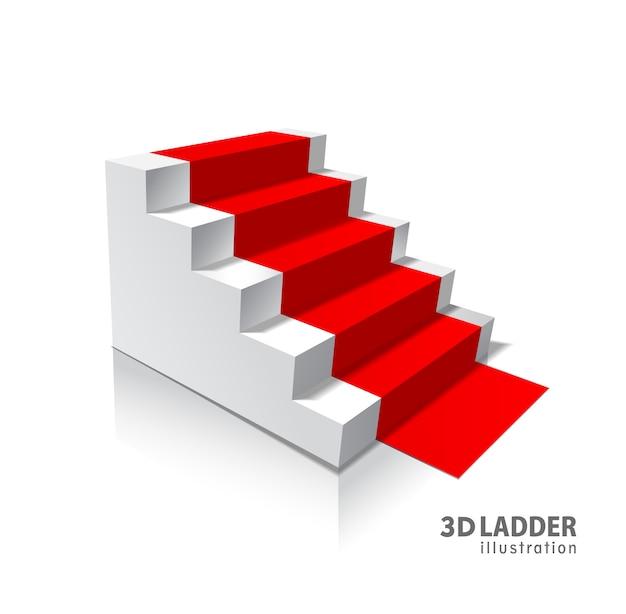 デザイン要素の白い階段のリアルなイラスト
