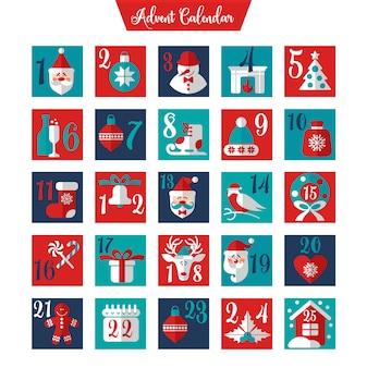 クリスマスアドベントカレンダーまたはポスター。冬の休日の要素。カウントダウンカレンダー。