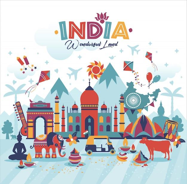 インドの風景のイラストを旅行します。