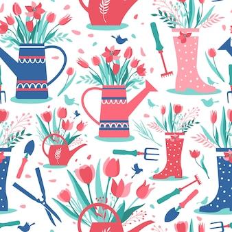 ガーデンツールとチューリップの花の装飾的なシームレスパターン