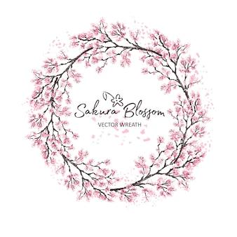 Сакура япония черри ветка венок с цветущими цветами акварель стиль иллюстрации.