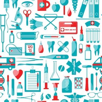 Медицина и здоровье бесшовные модели цвет вектор текстуры