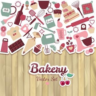 パンやお菓子抽象イラスト