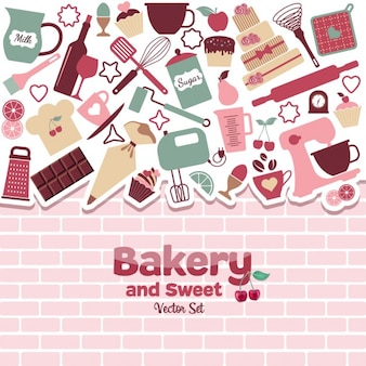 Хлебобулочные и сладости абстрактные иллюстрации