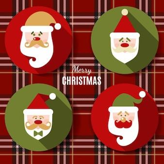 クリスマスデザインのアイコンは、サンタクロースのベクトルの背景のセット