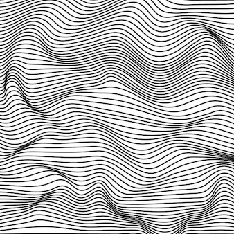 Абстрактный черно-белые волнистые полосы фона