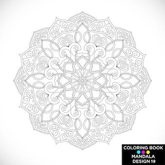 Черная цветочная мандала для раскраски