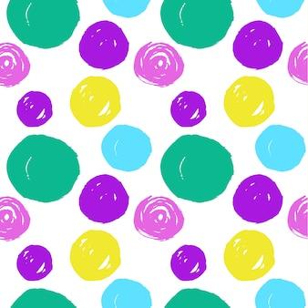 手描きの円のシームレスなパターン