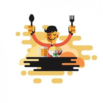 Человек ест макароны