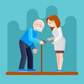看護師は、障害のある老人を助けます。