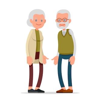 引退した高齢者の老夫婦。フラットなデザインのイラスト