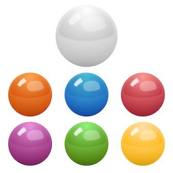 光沢のある色のボールのセット