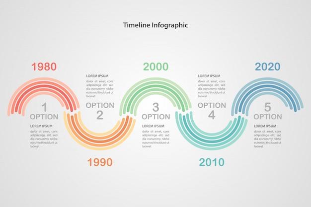 ビジネスタイムラインインフォグラフィックテンプレート。ベクトルイラストワークフローのレイアウト、図、番号のオプションに使用できます