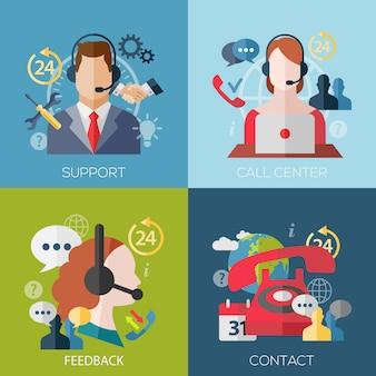 サポート、コールセンター、フィードバック、連絡先のフラットデザインコンセプトアバターのセット