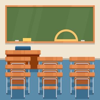 学校の教室。ベクトルフラット図