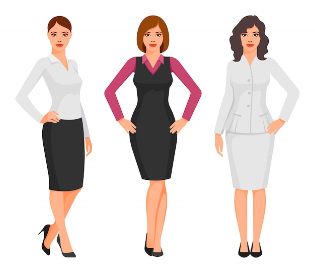 Молодые женщины в элегантной офисной одежде