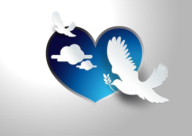 平和のベクトルの背景の鳩