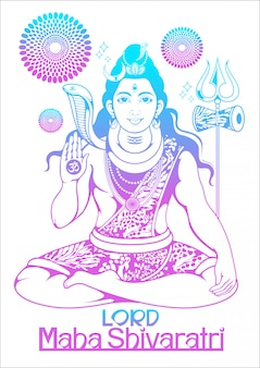 Плакат господа шивы из индии для традиционного индуистского фестиваля маха шиваратри