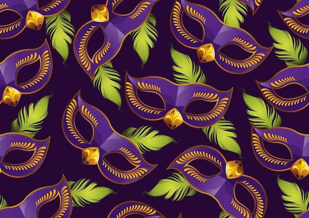 Безшовная картина марди гра, фиолетовая маска пера