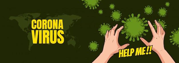 Коронавирус, грязные руки с иллюстрацией микробов.