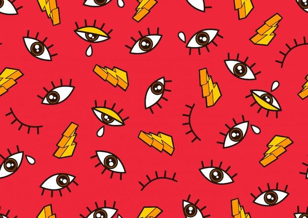 目のシームレスなパターン、ファッションの服やコミックスタイルの最小限の幾何学的な背景。