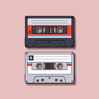 レトロカセットテープフラットデザイン
