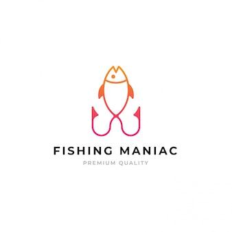 Шаблон логотипа для рыбалки