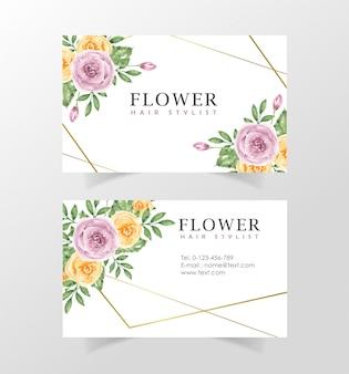 Шаблон визитки с цветами