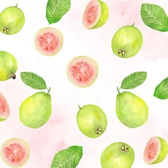 緑のグアバと葉のパターンの水彩画