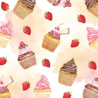 カラフルな甘いカップケーキとベリーフルーツ水彩パターン