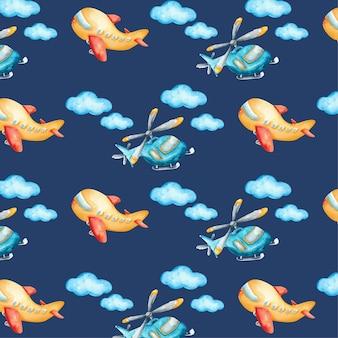 空の要素と飛行機の水彩パターン
