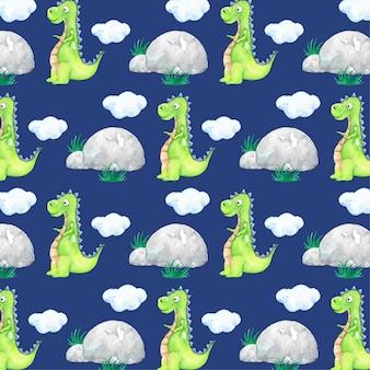 Мультфильм зеленый динозавр акварель