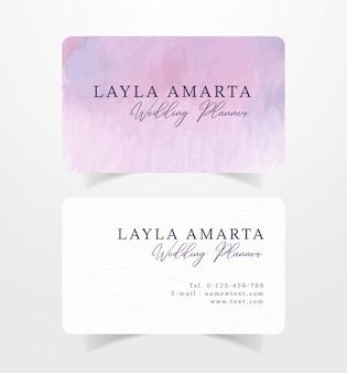 紫のブラシ水彩画と名刺名刺